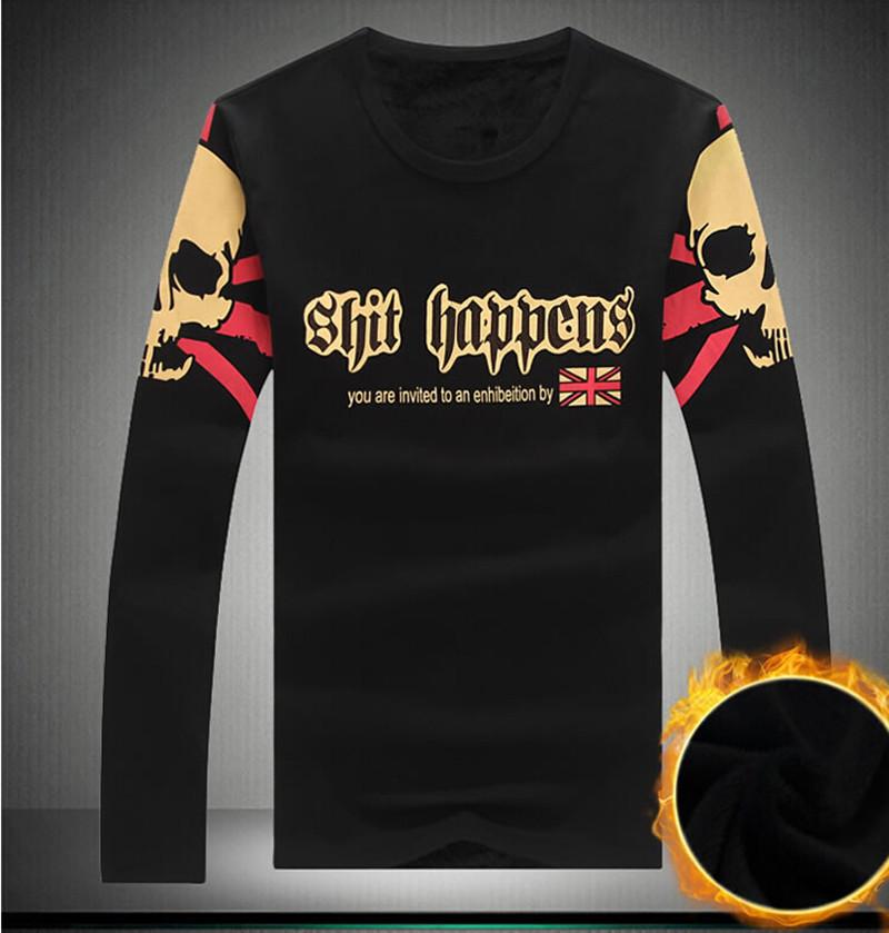 High Quality Male T Shirt ! 2015 Autumn Winter Fashion Letters Plus Printing Thick Velvet Long Sleeve T Shirt Men Big Size M-5XL(China (Mainland))