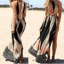 Buy Summer Sexy Halter Neck Hollow Backless Side split Maxi Dress Women Sleeveless Bohemian Style Beach Party Dresses Vestido U2 for $11.81 in AliExpress store