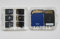 8 in 1 Portable Mini save white case for SD SDHC TF cards, free shipping,500pcs/lot<br><br>Aliexpress