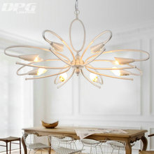 White Iron Chandelier Lighting Fixtures luminaria lustre Ceiling Chandeliers E14 Light for Bedroom living room Lamp(China (Mainland))