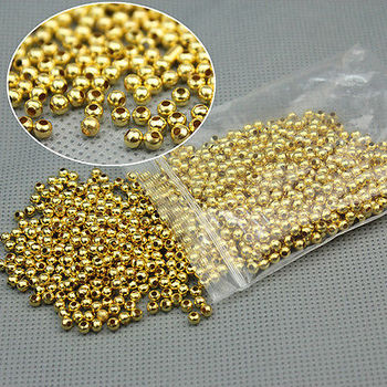 200pcs/Lot Round Gold Silver Spacer Beads 3mm for Jewelry Making Bracelet Necklace