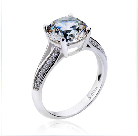 3Carat Solid Gold 750 Four Prongs Two Arms Durable Synthetic Diamond Engagement Ring For Woman Great Design Forever Love Jewelry(China (Mainland))