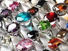 15pcs HOT wholesale jewelry lots Mixed Color Zircon silver  rings bulks(China (Mainland))