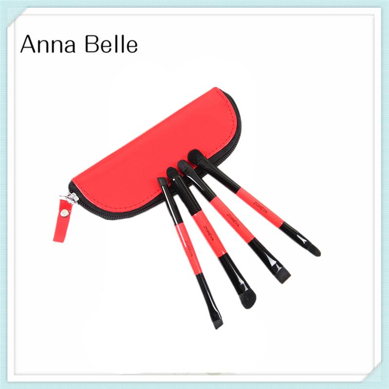 Cheap makeup brushes sets 4pcs synthetic hair aluminum tube double head cosmetic makeup brush set with make up brush bag(China (Mainland))