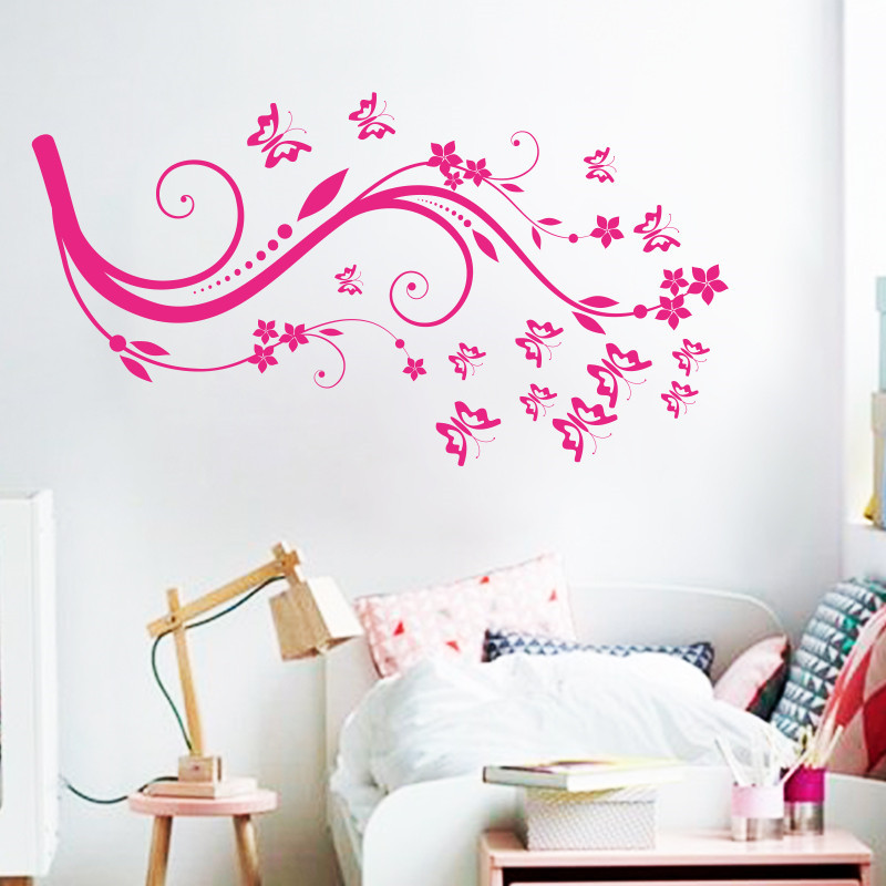 Art beautiful design home decoration vinyl butterfly for Butterfly design on wall