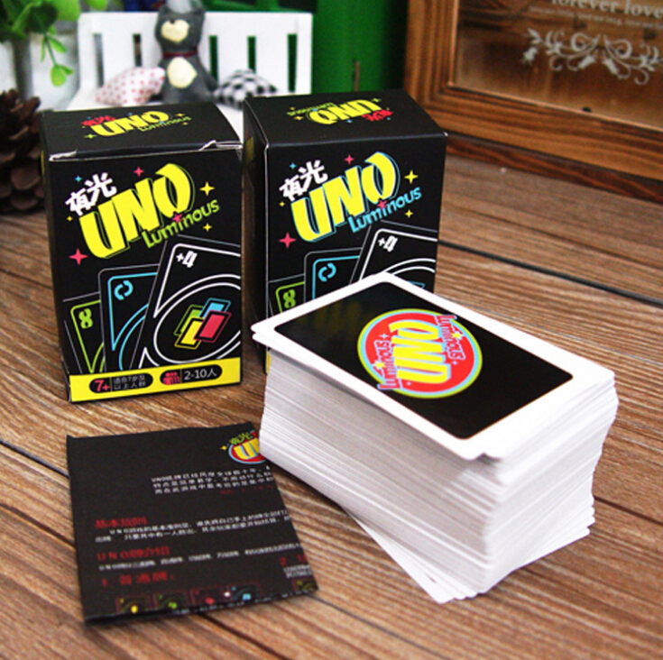 Free shipping night-luminous glow-in-the-dark UNO classic board game playing card family fun party game for pub bar(China (Mainland))