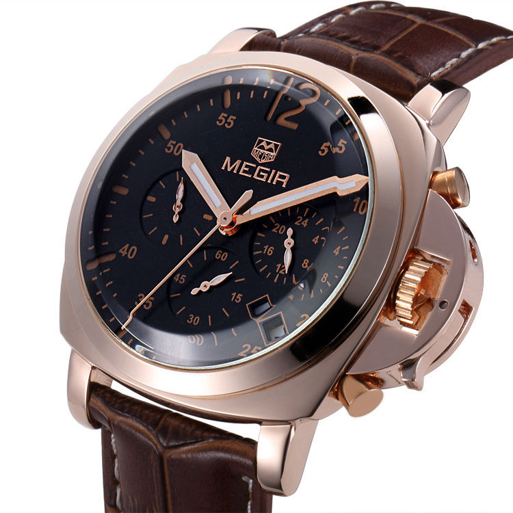 Men's Top Brand MEGIR Military Watch Relogio Masculino Leather Luxury Men Watches Chronograph 6 Hands 24 Hours Function Watches(China (Mainland))