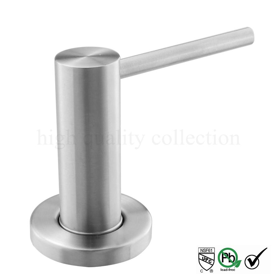 Solid 304 Brushed Stainless Steel Kitchen Sink Liquid Soap Dispenser Spot Head 17 OZ (500ML)Bottle Deck Installation(China (Mainland))