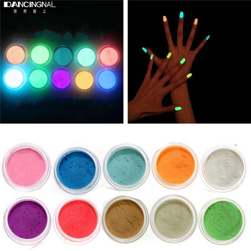 Neon Acrylic Nail Art Fluorescent Luminescent Glitter Tip Powder ...