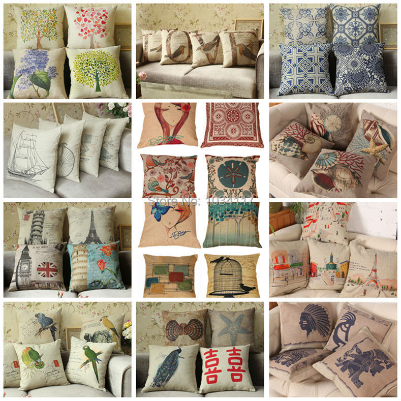 Fashion high quality 45*45cm cushion cover,cotton linen square pillow case,thick printing Various serie pillowcase for seat/sofa(China (Mainland))