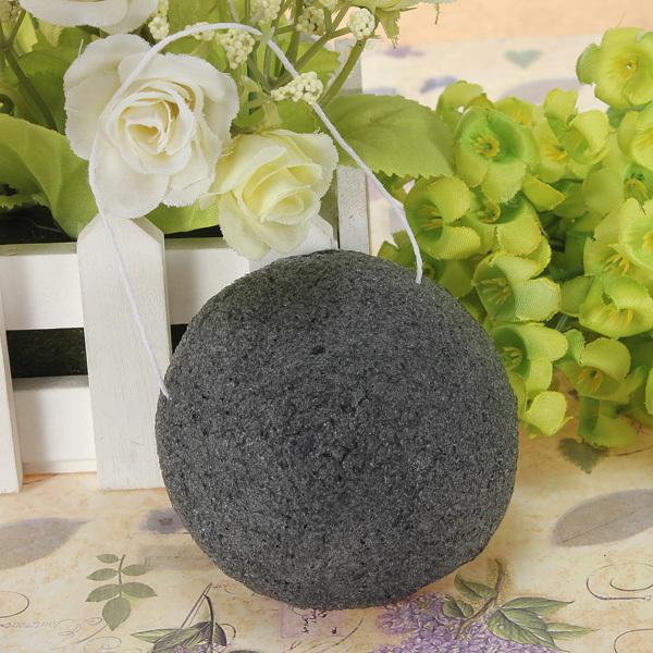 Natural Konnyaku Konjac Jelly Fiber Face Wash Cleansing Sponge Puff Exfoliator Cleaner Flutter Corneous Black Free Shipping(China (Mainland))