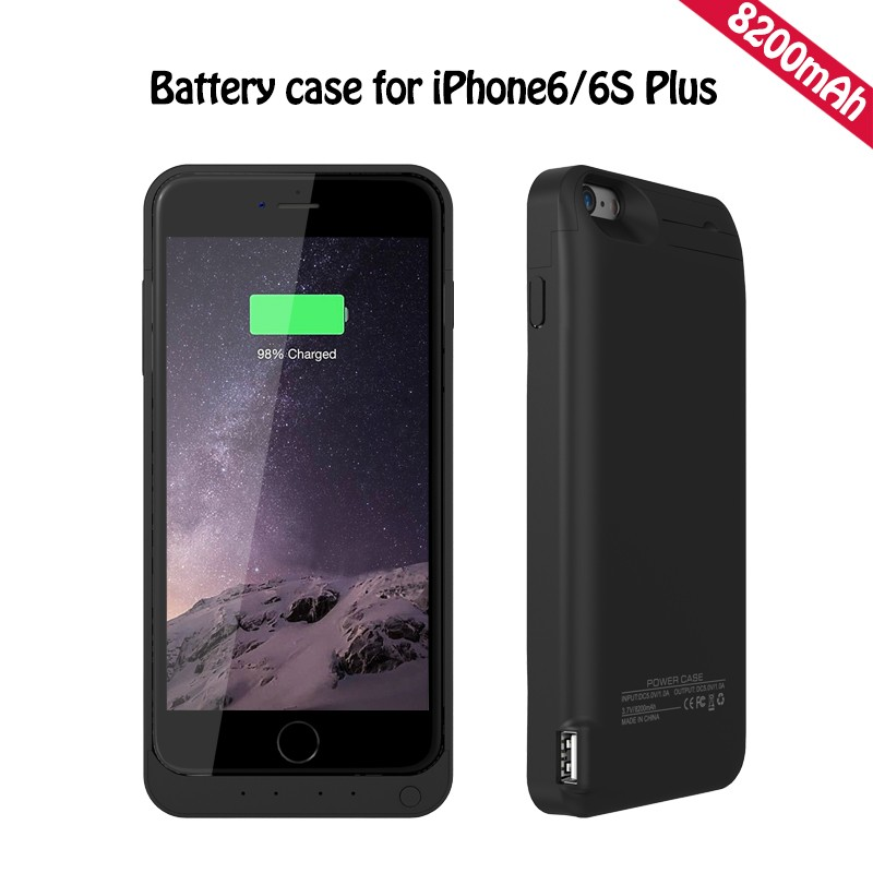 8200mAh Battery Charger Case for iPhone 6 6s 6Plus 6sPlus Rechargeable Backup Power Case for iPhone 6 Plus Charger Case Cover