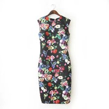 2015 New Spring Summer Women Dresses Elegant Slim Dress Package Hip Pencil Vestidos Floral Printed Dress Sexy Bodycon Long Dress(China (Mainland))
