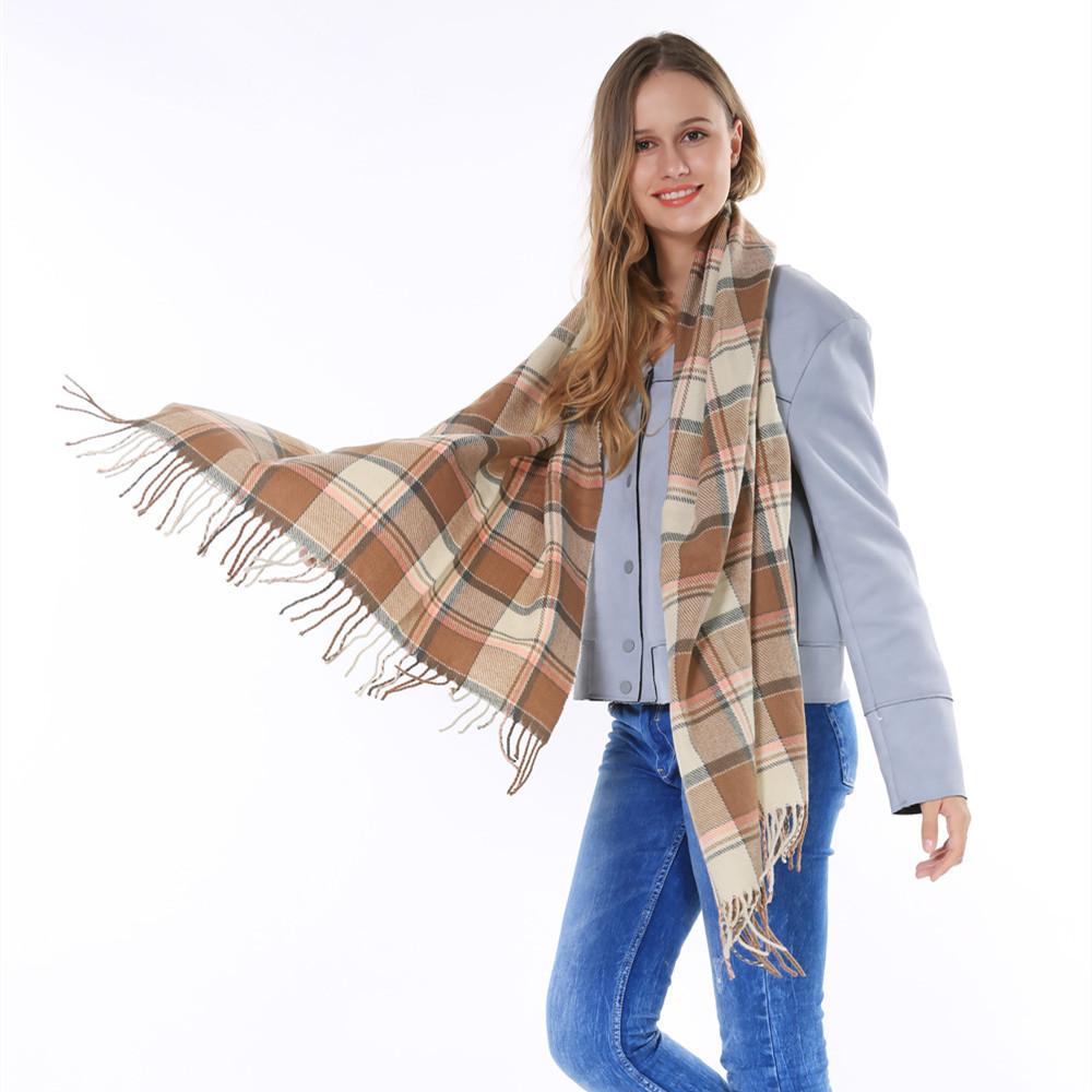 2015 Hot Sale Brand Women Winter Thick font b Tartan b font Pashmina Scarf Big Blanket