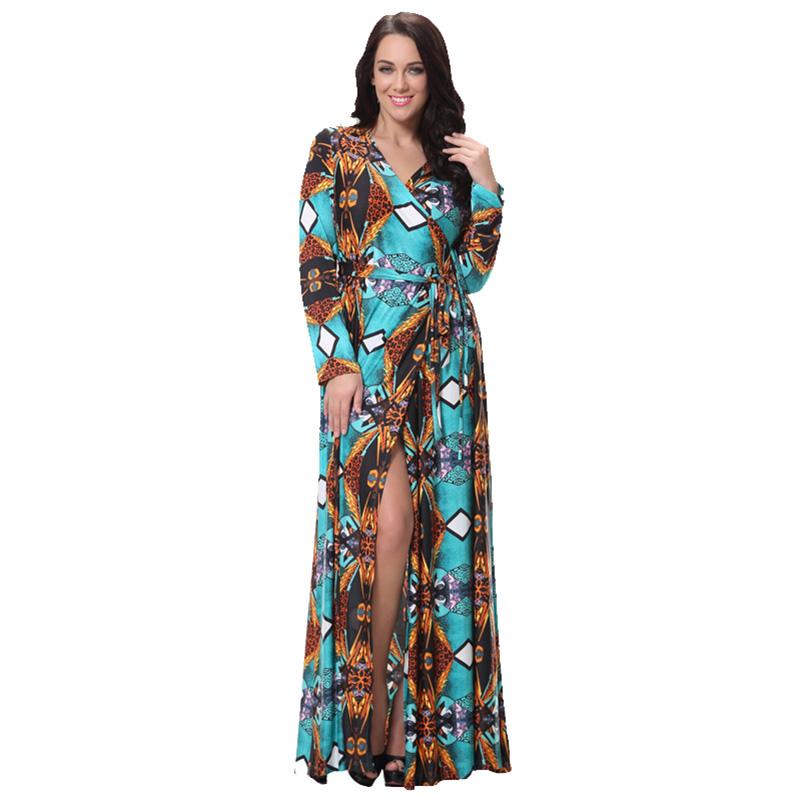 2015 Autumn Winter New Arrival Women Dress Plus Size Maxi Long Vestidos Split Bottom Women's Clothing 7XL 6XL Long Sleeve dress(China (Mainland))