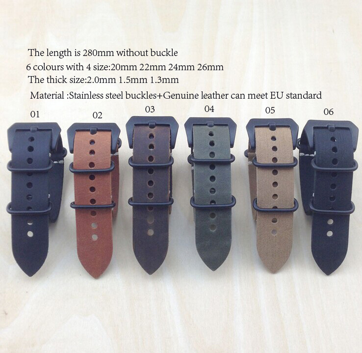 zulu strap New arrived gh quality 20MM,22mm*2.0 Nato genuine leather Watch band NATO straps watch per lot - & Accessories For You store