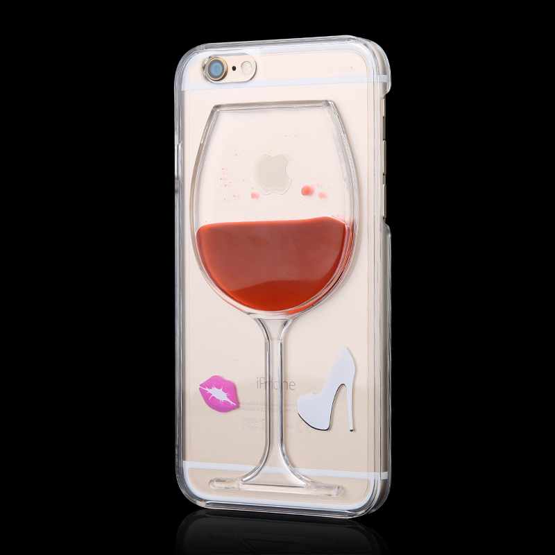 High Sales! Luxury Red Wine Cup and Beer Bottle Liquid Transparent Case Cover For Apple iPhone 5 5s phone cases back Housing(China (Mainland))