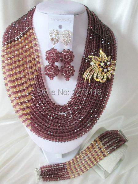 Fashion Nigerian African Wedding Beads Jewelry Set , Crystal Necklace Bracelet Earrings Set C0750<br><br>Aliexpress