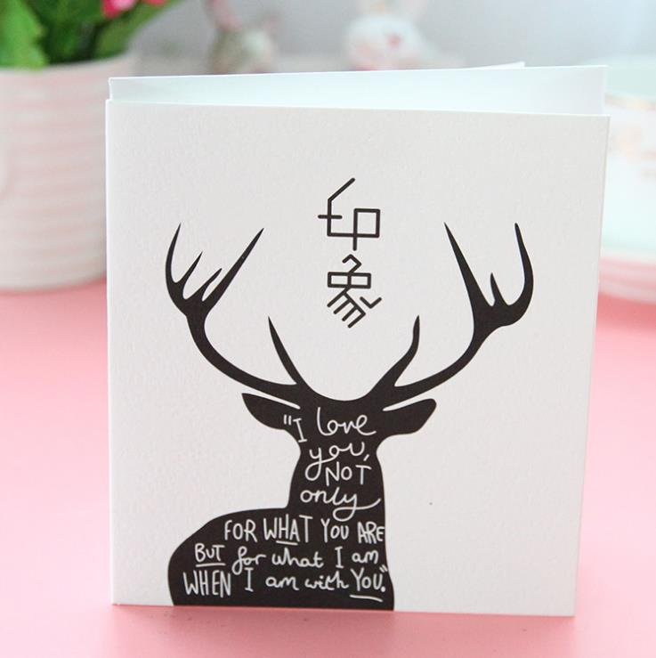 vintage white &amp; black sika deer Christmas greeting cards folding type office postcards kids birthday cards 18pcs/lot ARC1188<br><br>Aliexpress