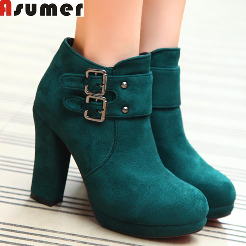 2016 new fashion ankle boots solid black green round toe women fur inside autumn winter platform shoes buckle