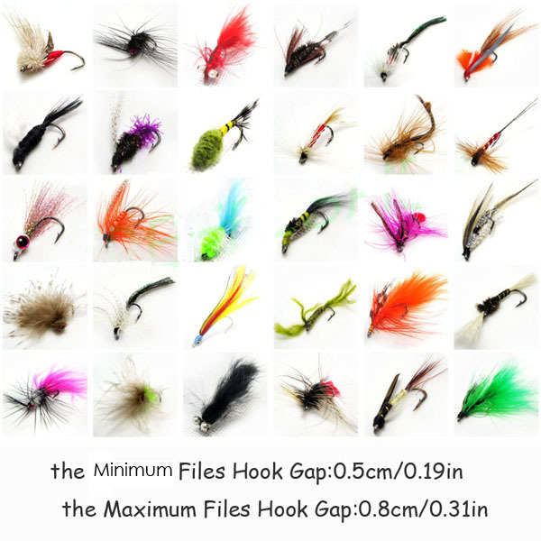 60pcs fly fishing hook colorful dry fly fishook flies hook with extra plastic box