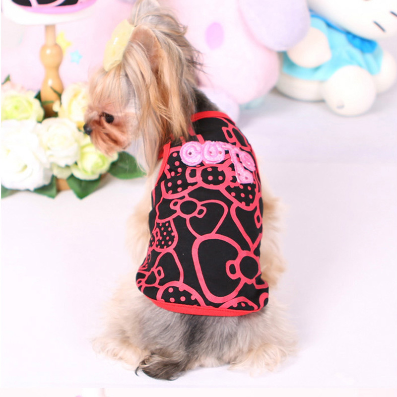 2015 New Arrival Kitty Bow Print Small Dogs Summer Vest Cute Pets Puppy Cotton T shirt Pink Red XS -XL Latest Design Clothes G69(China (Mainland))
