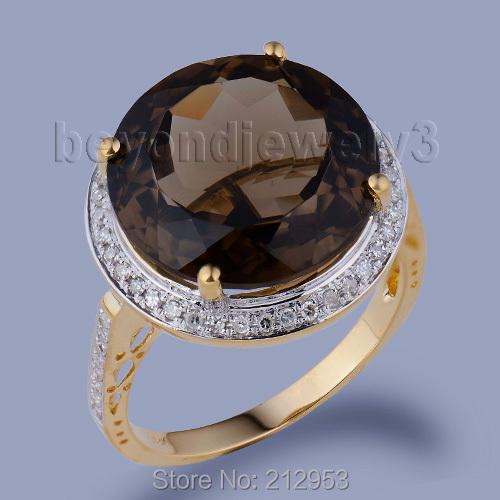 Cheap Fashion Jewelry 18Kt Yellow Gold Natural Smoke Topaz Ring WR0016