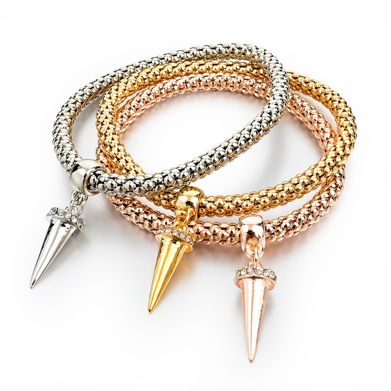 Gold-Silver Plated Bracelets with Charmes
