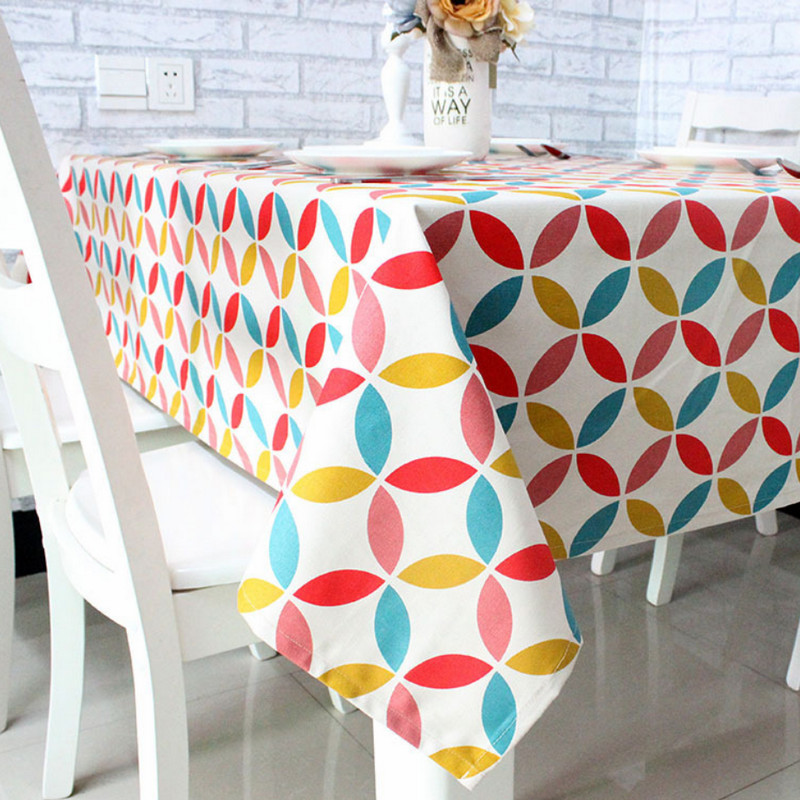 Pink Round Cotton Polyester Tablecloth Geometric Print Style Table Cloth Mantele Table Cover For Tea Coffee Nappe Toalha De Mesa(China (Mainland))