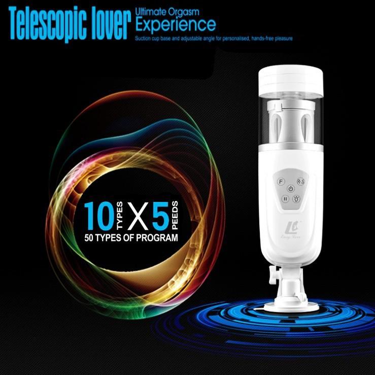 EASY LOVE TELESCOPIC LOVER hands free automatic masturbation machine male Masturbator Rotation flashlight sex toys for man