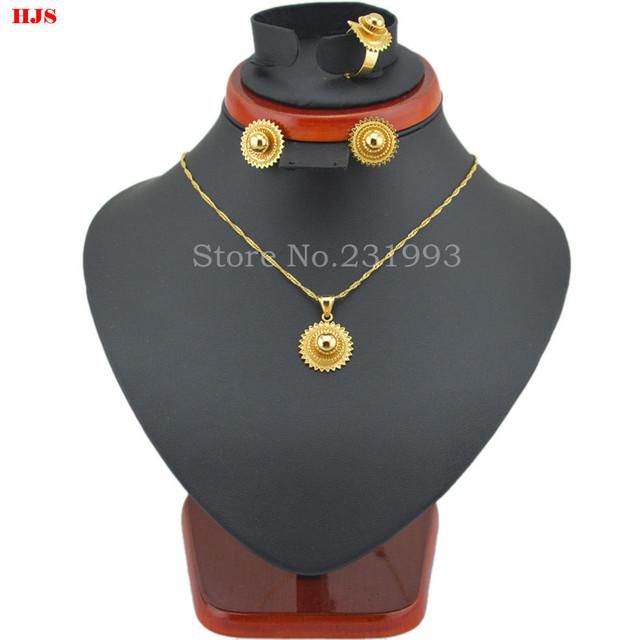 Продвижение Эфиопии ювелирные наборы joias ору 22 К 18 К Золото Заполнил Ювелирные ...