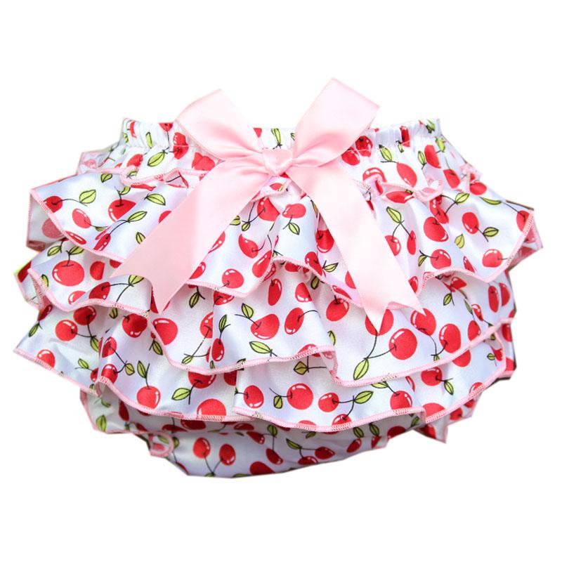 Baby Bloomer Satin Girls Baby Ruffled Bloomers Bow Pants Newborn Ruffle Shorts Cherry Bloomers Toddler Cute Baby Diaper Cover(China (Mainland))