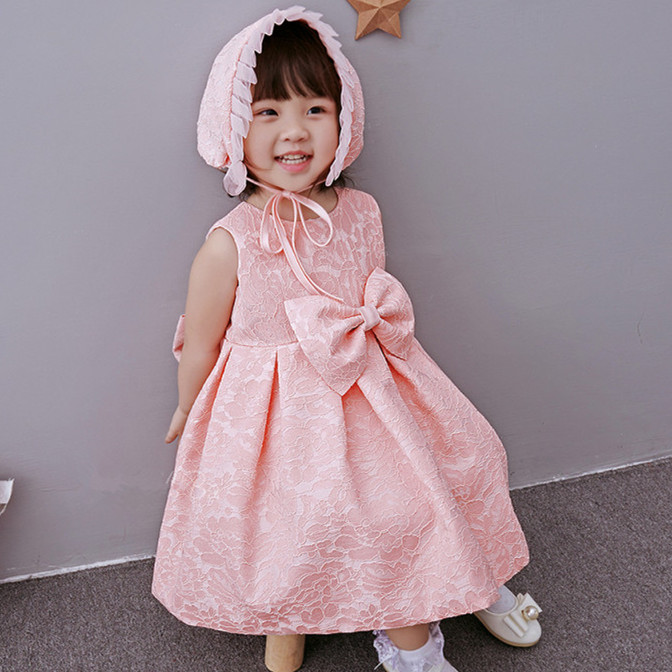 Baby Girl Baptism Dress With Hat Pink Bow Gown Ball Formal Baptism Clothes for Baby Girl 2017 Baby Clothes for Party ABF164708(China (Mainland))