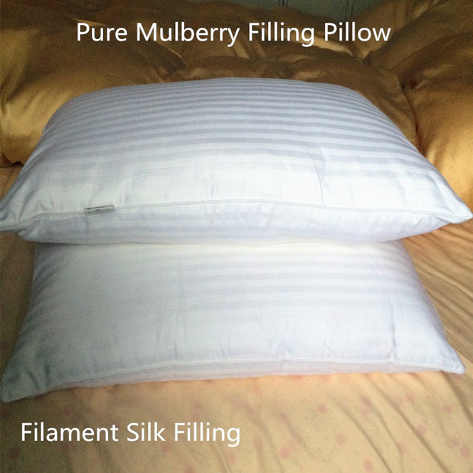 100% Mulberry silk filling pillow Eco-Friendly pure silk 75 X 48 cm 1000 g 1250 g 750 g Optimal Filament silk pillow on sale(China (Mainland))