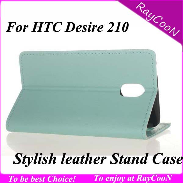 Free ship 10pcs/lot High Quality Stylish PU leather stand case for HTC Desire 210, Leather protective cover for HTC 210