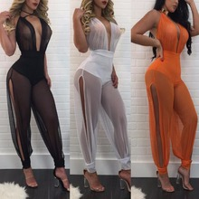 Buy 2017 Summer Sexy Club Wear Women Jumpsuit 3 Colors V-Neck Mesh Patchwork Transparent Skinny Jumpsuit Party Rompers Femme OMS for $12.33 in AliExpress store