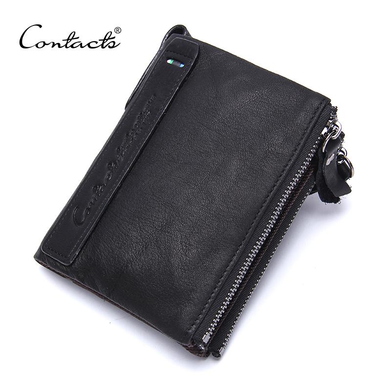 Genuine Leather Organizer Wallets Brand Vintage Double Zipper Cowhide Leather Short Bifold Black Men's Wallet Purse Card Holder(China (Mainland))