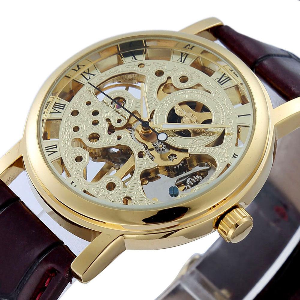 Men's/ women Skeleton Mechanical Watch Winner wristwatch Man watches Leather Relogio Masculino Luxury Fashion Casual Wrist Watch(China (Mainland))