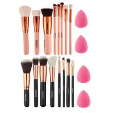 New 8Pcs Rose Gold Makeup Brushes Eyeshadow Powder Blush Fondation Brush Make Up Tool +2pc Sponge Puff Cosmetic Kit(China (Mainland))