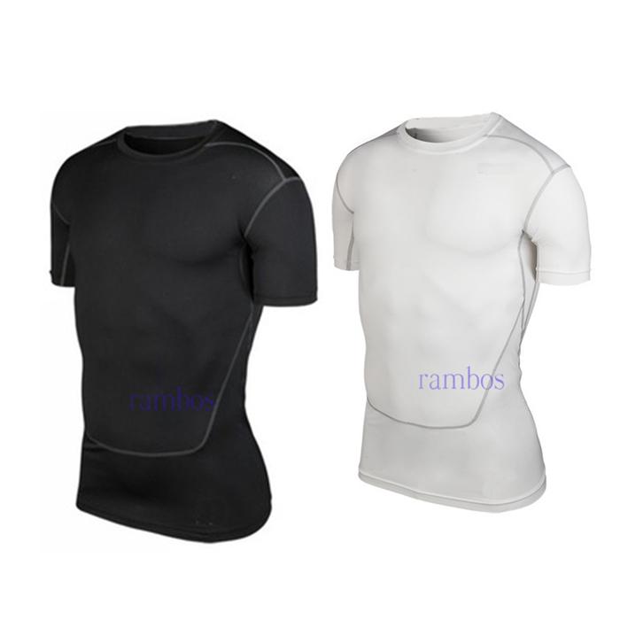 Men Bodybuilding Clothing Tight Base Layer Short Sleeve Skin Compression Clothing Sports Shirts(China (Mainland))