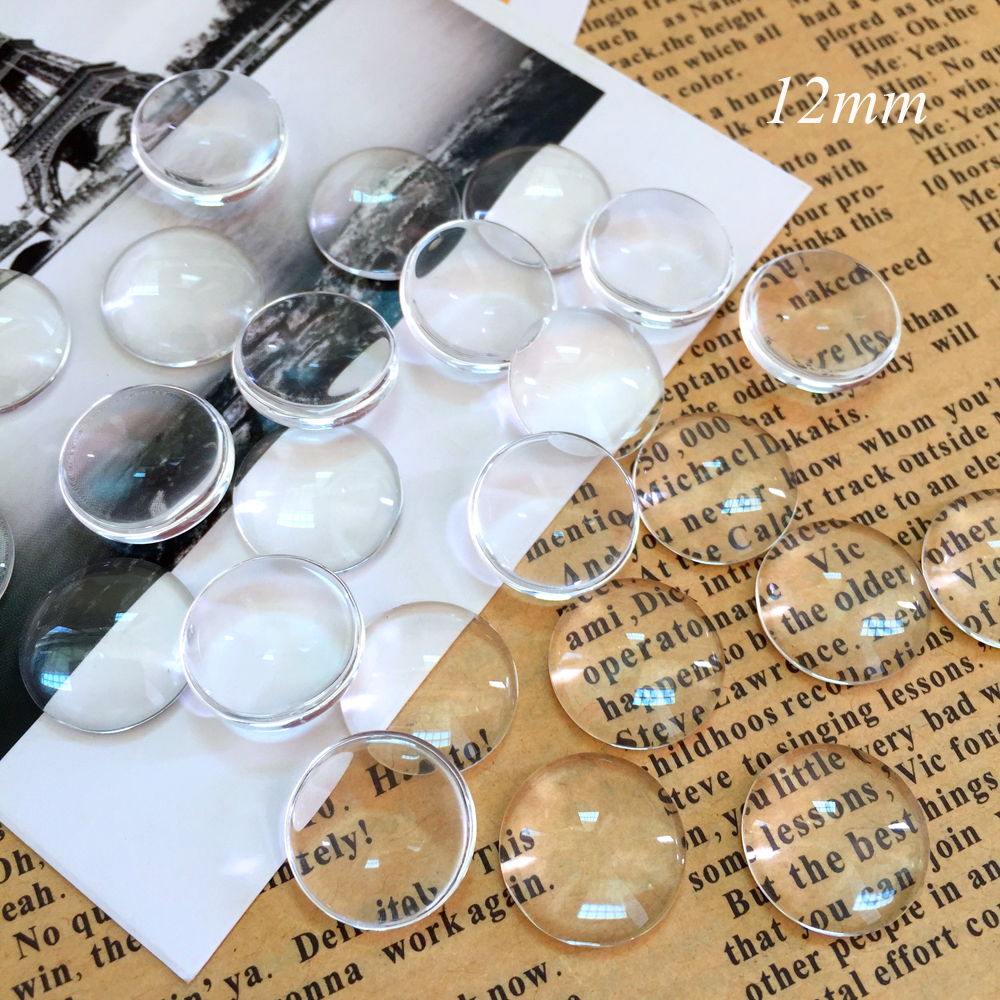 50pcs/lot 12mm Handmade Transparent Clear Glass Cabochon Domed Round Jewelry Accessories Supplies for jewelry(China (Mainland))