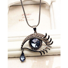 NEW Fashion Exaggerated Crystal Teardrop Eye Sweater Chain Long Necklace Jewelry