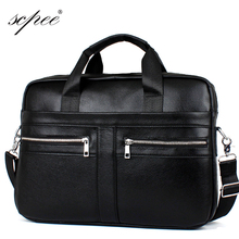 SCPEE latest men's leather briefcase computer bag men's bags men leather shoulder bag handbag promotional price free gift a gift(China (Mainland))