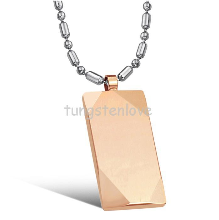New Polished Tungsten Carbide Dog Tag Pendant Necklace Chains Included Silver/ Rose Gold Color Lovers Gift for Women Men(China (Mainland))