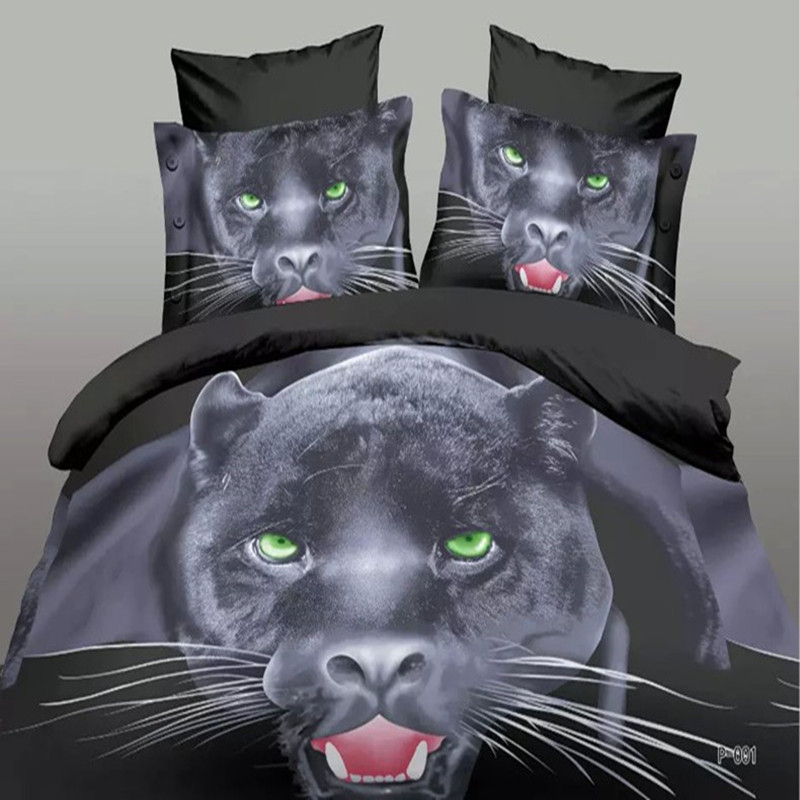 2016 New Bedding set 3D bed sets cotton&polyester Animal style wolf tiger horse leopard 3d bed linens bed sheet 3D bed linen set(China (Mainland))