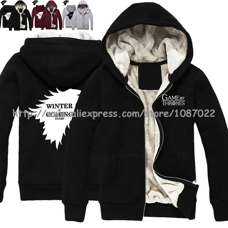 Winter is Coming House Stark of Winterfell wolf blood Game of Thrones men sports Parkas(China (Mainland))