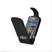 BLACK PU LEATHER FLIP CASE COVER FOR THE NOKIA C7+ FREE 1 STYLUS(China (Mainland))