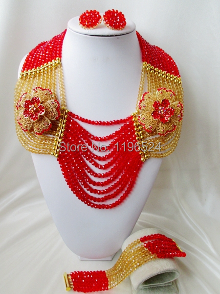 Special offer Crystal Necklaces Bracelet Earrings African Nigerian Wedding Beads Jewelry Set NEW A-11594<br><br>Aliexpress