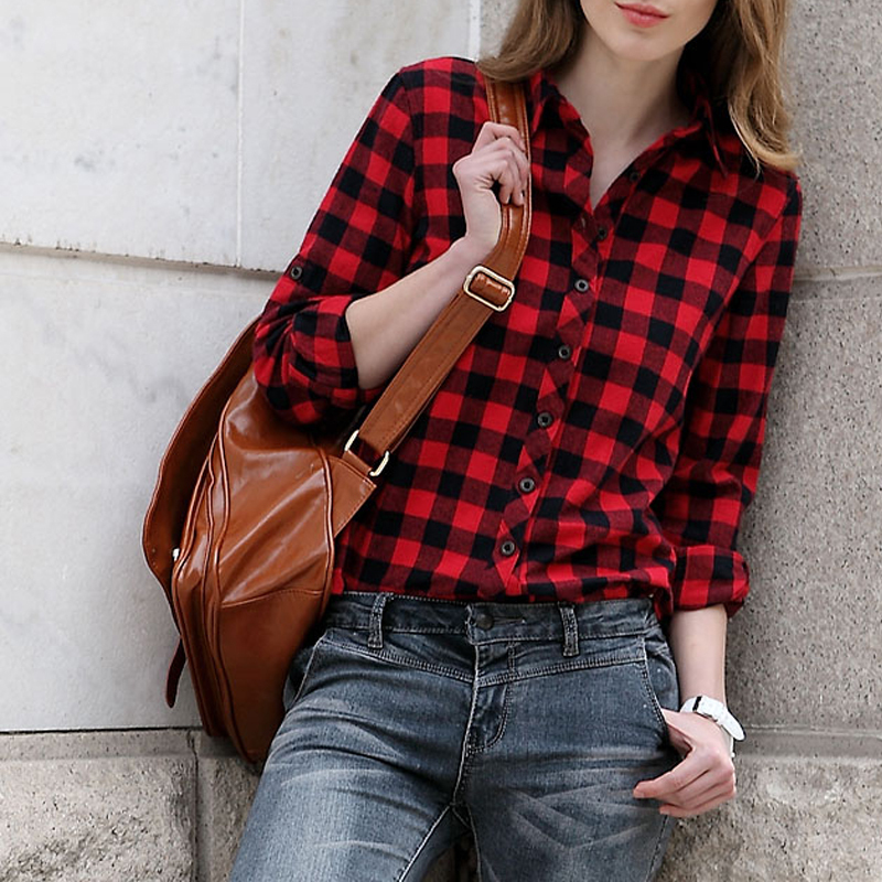 Hot selling womens red plaid shirt fashion brand long Womens red tartan plaid shirt