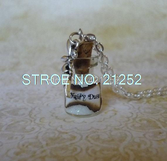 12pcs/lot white Fairy Dust Necklace white Pixie Dust Fantasy Jewelry Fairy Charm Glass Bottle Pendant(China (Mainland))